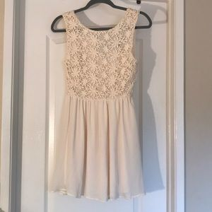 Cream Lace Mini Dress